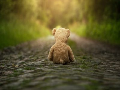 42918991 - lonely teddy bear on the road